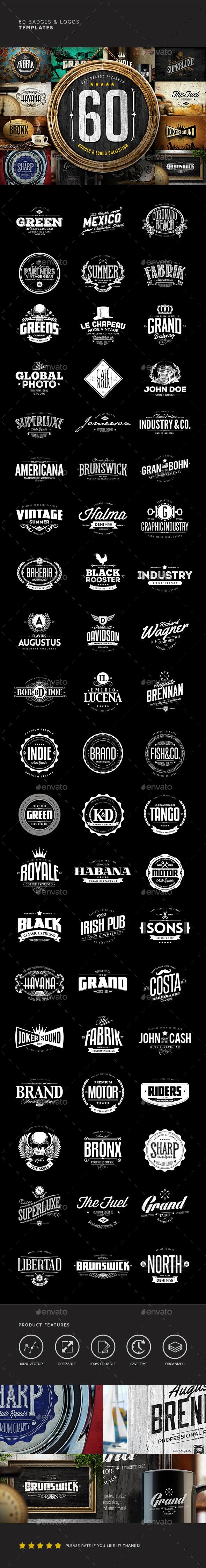 60 Badges & Logos Bundle - Badges & Stickers Web Elements