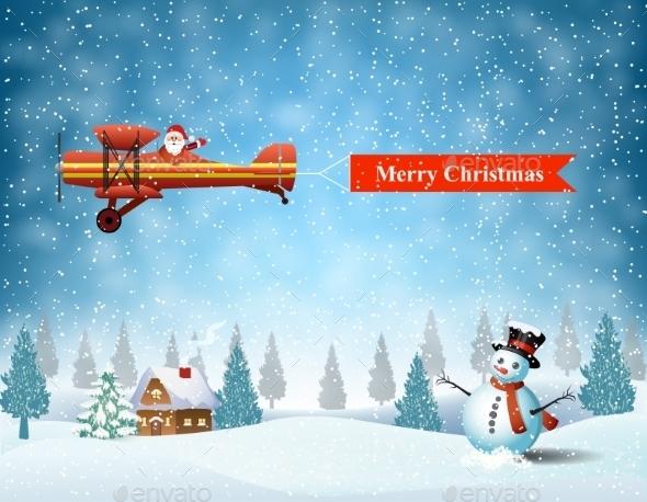 Light Plane With Santa Claus   - Christmas Seasons/Holidays