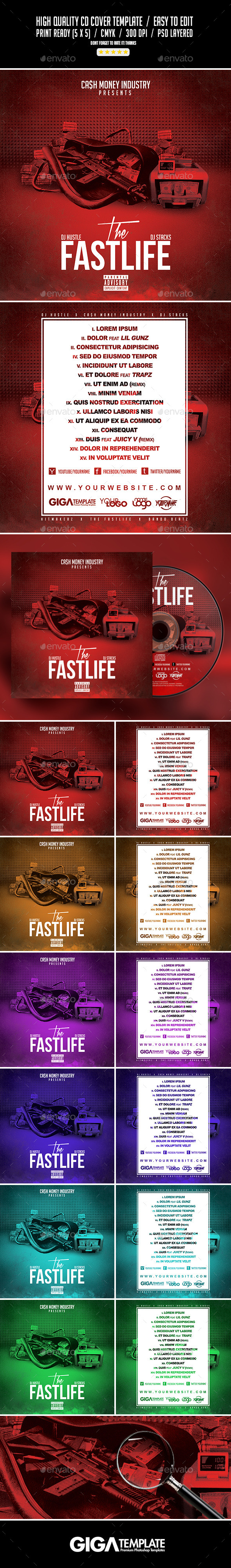 The Fastlife | Mixtape Album CD Cover Template - CD & DVD Artwork Print Templates