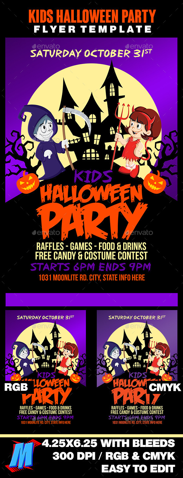 Kids Halloween Party Flyer - Clubs & Parties Events