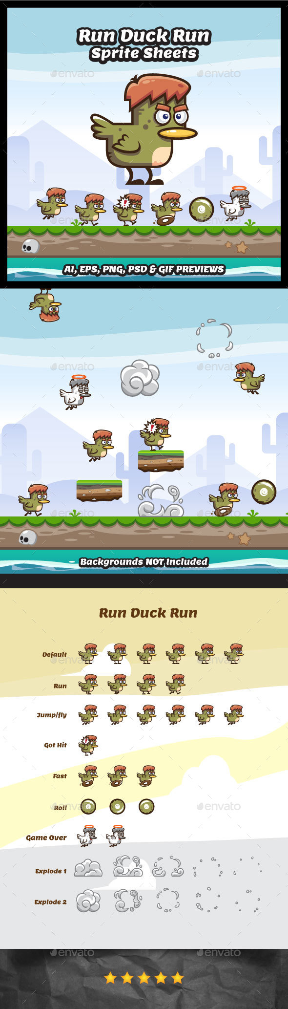 Run Duck Run Sprites - Sprites Game Assets