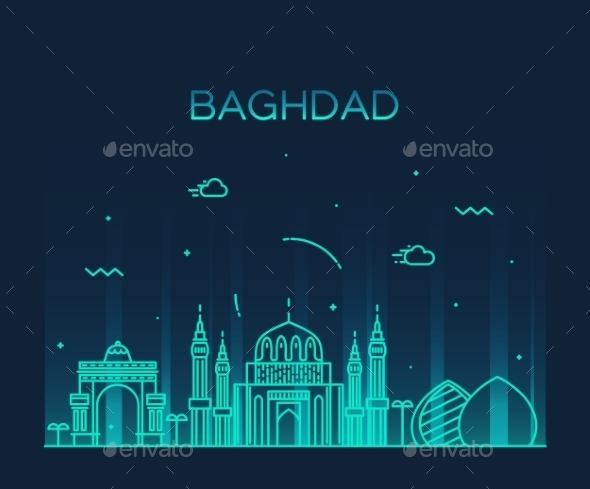 Baghdad Skyline Vector Illustration Linear Style - Landscapes Nature