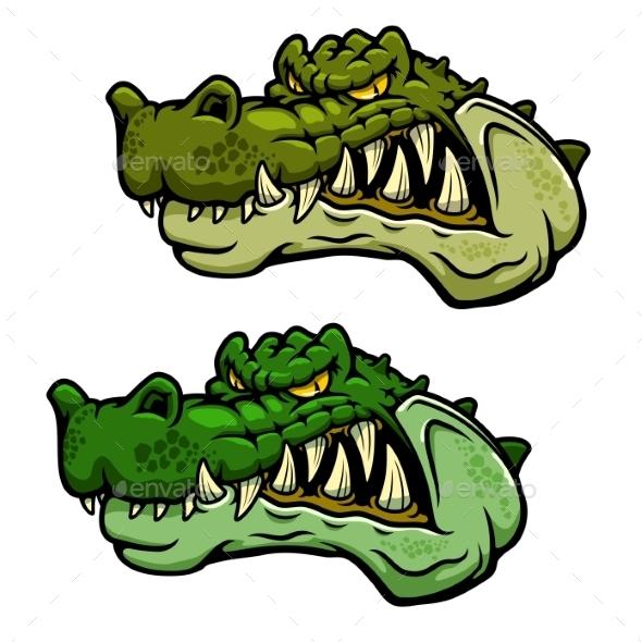 Crocodile Character Head With Bared Teeth - Animals Characters