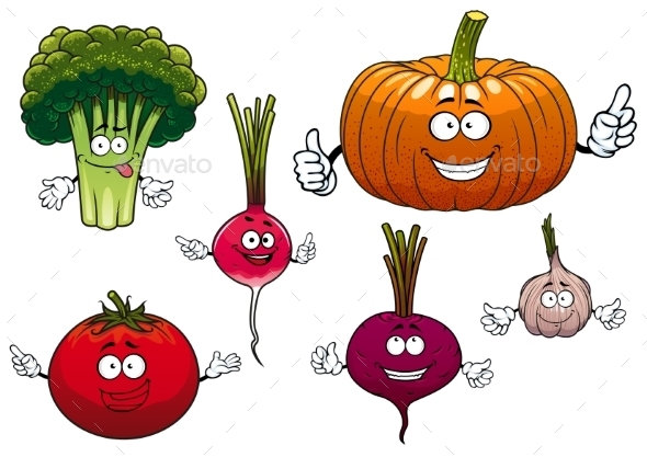 Cartoon Isolated Funny Vegetable Characters - Food Objects