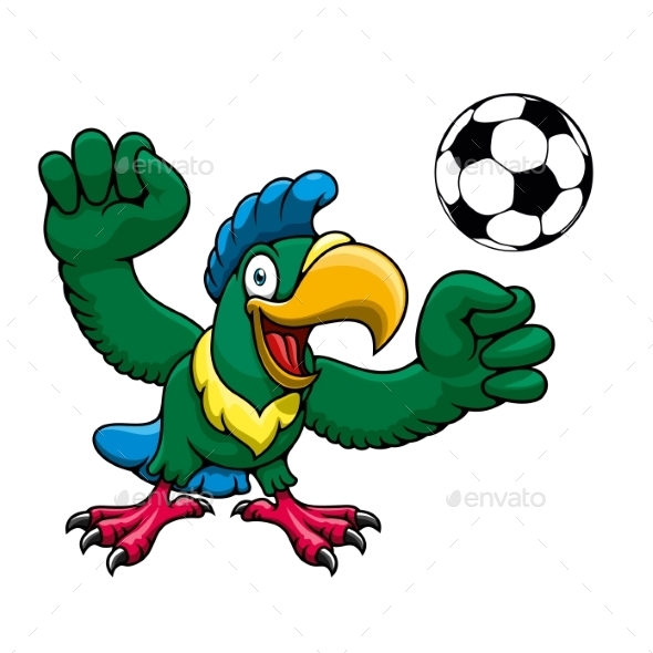 Cartoon Parrot Player With Soccer Ball - Sports/Activity Conceptual