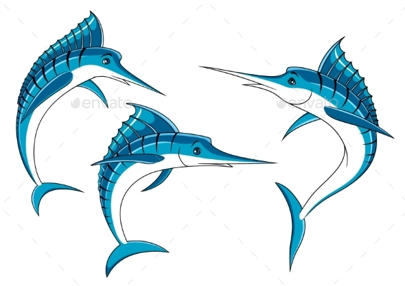 Jumping Blue Marlin Fish Characters  - Animals Characters