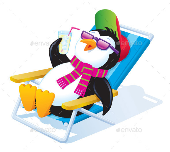 Penguin Relaxing in the Sun with a Drink - Christmas Seasons/Holidays