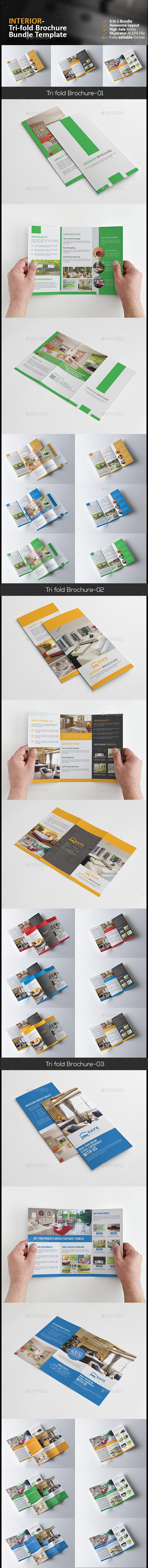 Interior Tri Fold Brochure Bundle 3 in 1 - Corporate Brochures