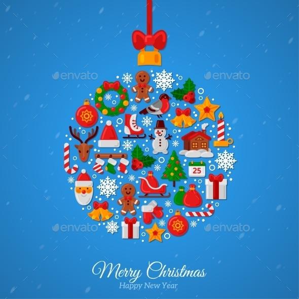 Christmas Ball Assembled From Christmas Icons.  - Christmas Seasons/Holidays