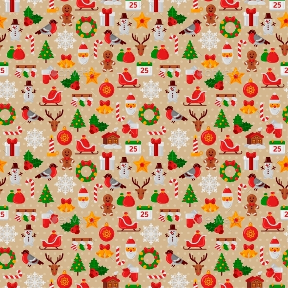 Seamless Pattern With Christmas Flat Icons.  - Christmas Seasons/Holidays