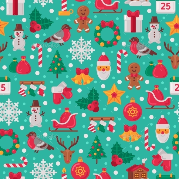 Seamless Pattern With Christmas Flat Icons.  - Christmas Seasons/Holidays