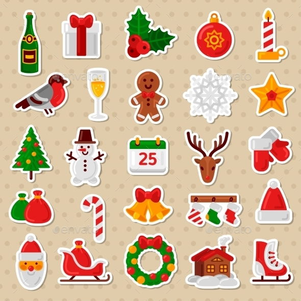 Merry Christmas Flat Icons. Happy New Year - Christmas Seasons/Holidays