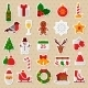 Merry Christmas Flat Icons. Happy New Year - GraphicRiver Item for Sale