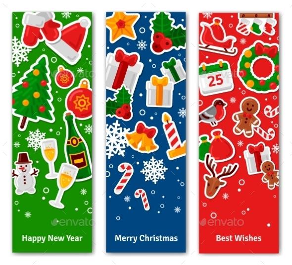 Merry Christmas Vertical Banners Set With Flat - Christmas Seasons/Holidays