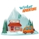 Winter Adventure Poster with Ski Shop - GraphicRiver Item for Sale