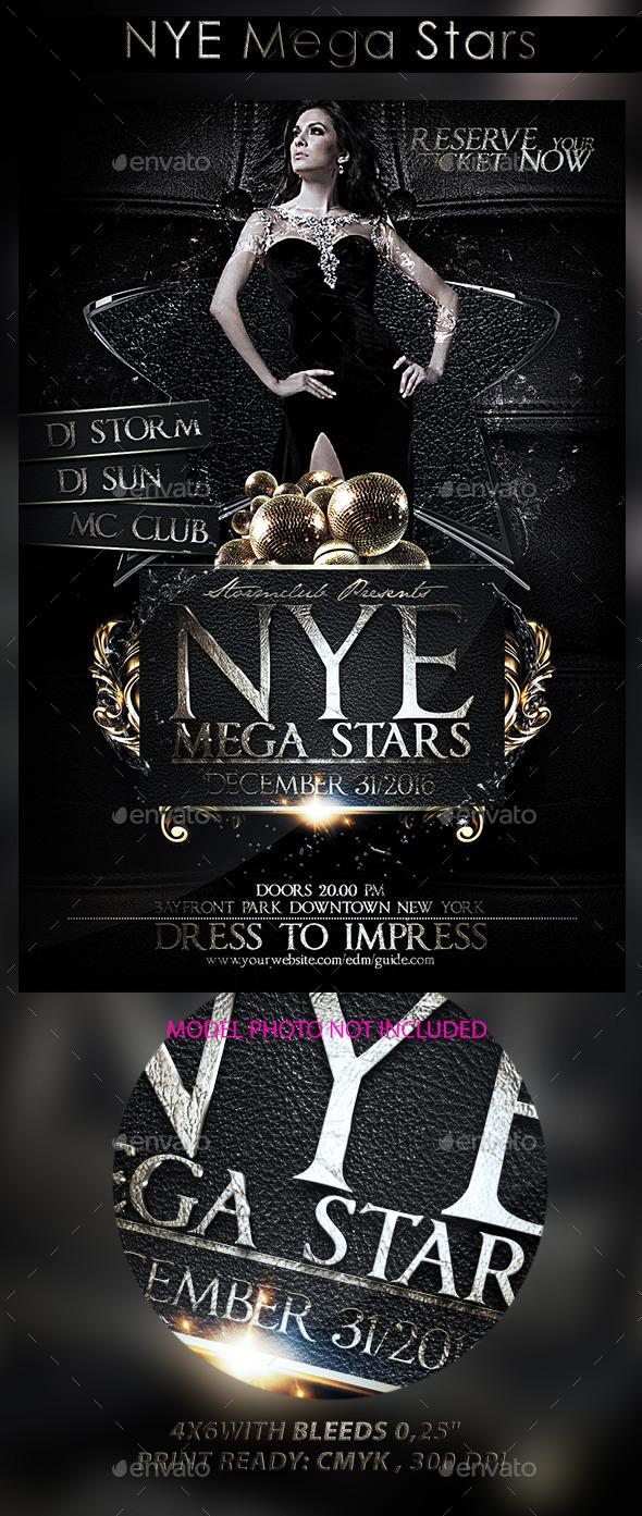 NYE Mega Stars - Events Flyers
