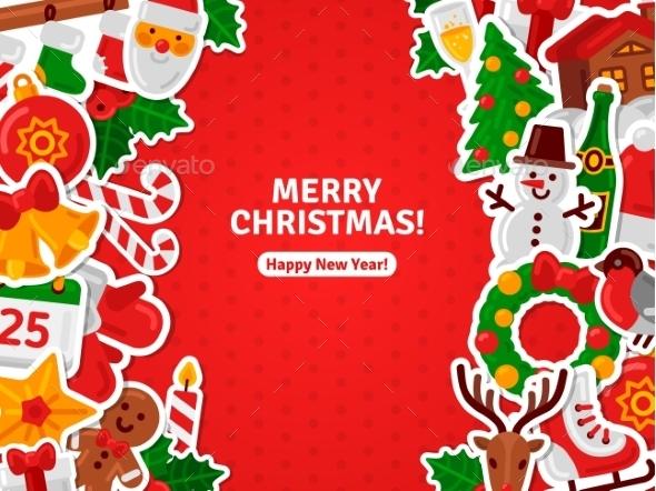 Merry Christmas Banner Flat Christmas Icons - Christmas Seasons/Holidays