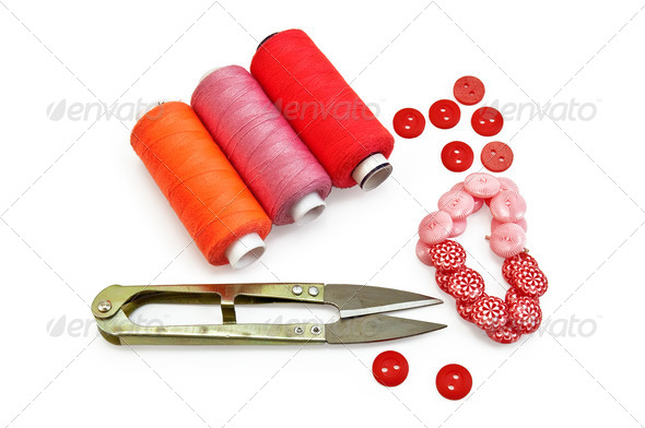 Sewing accessories red - Stock Photo - Images