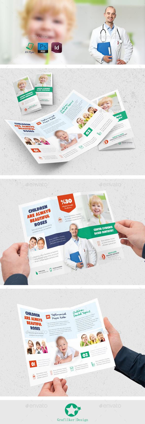 Kids Dental Tri-Fold Templates - Brochures Print Templates