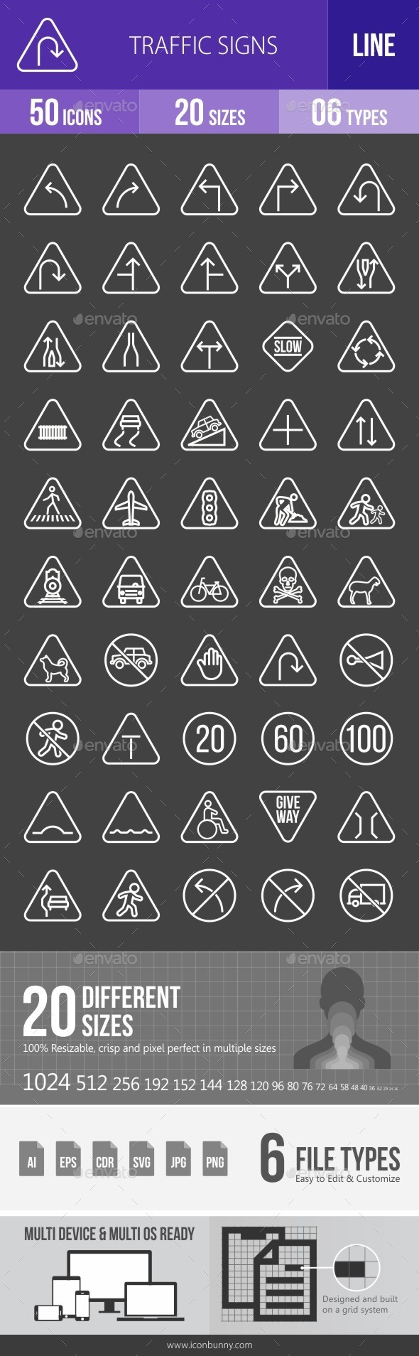 Traffic Signs Line Inverted Icons - Icons