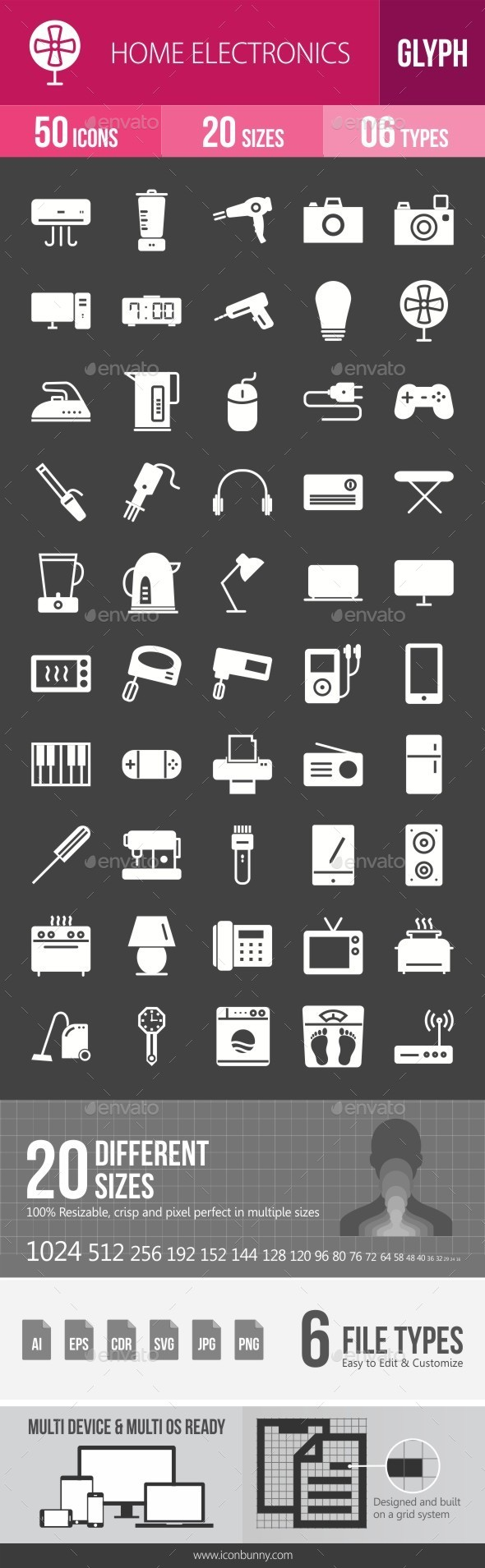 Home Electronics Glyph Inverted Icons - Icons