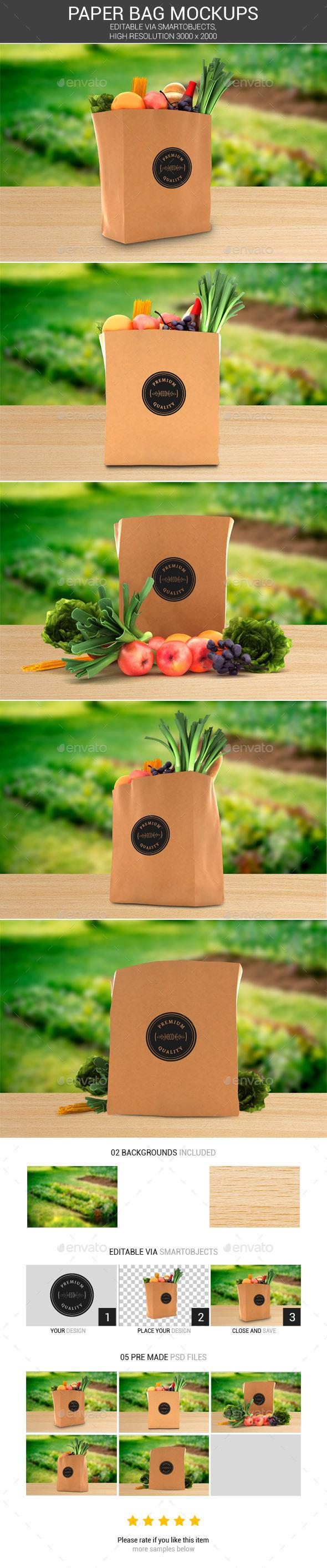 Grocery Paper Bag Logo Mockups - Logo Product Mock-Ups