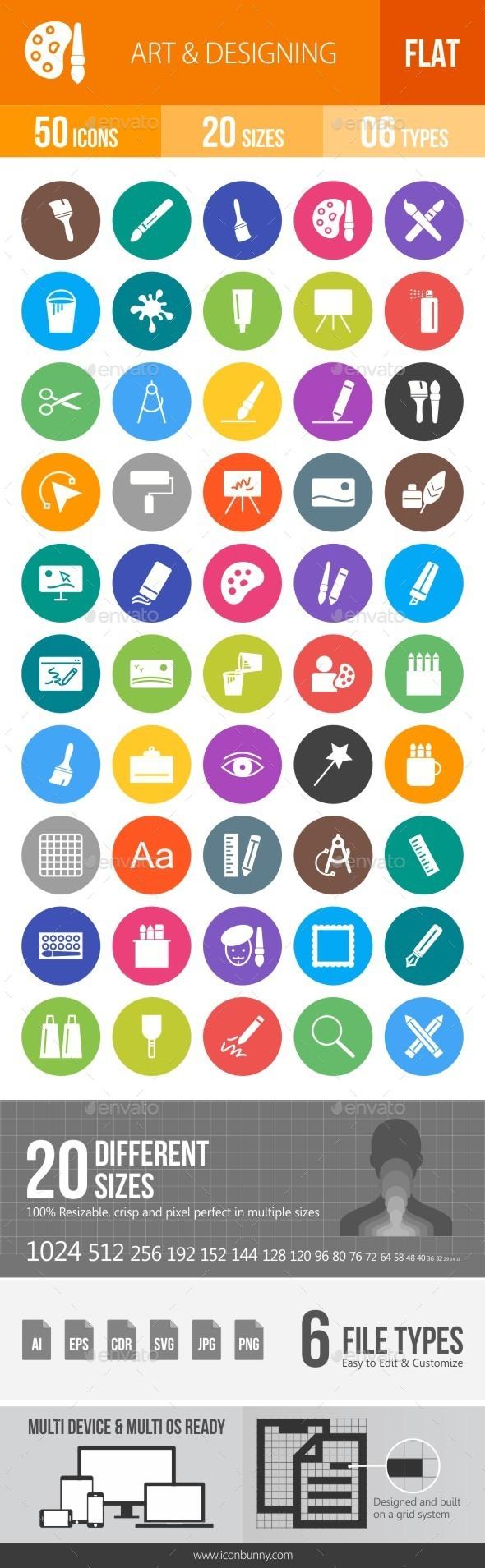 Art & Designing Flat Round Icons - Icons