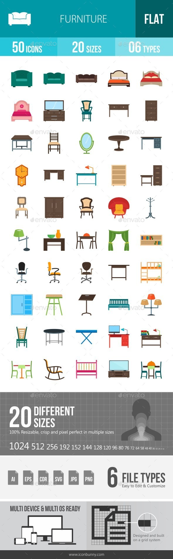 Furniture Flat Multicolor Icons - Icons