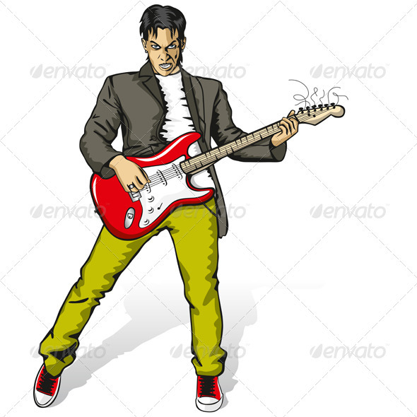 Vector Punk Man with the Guitar - People Characters