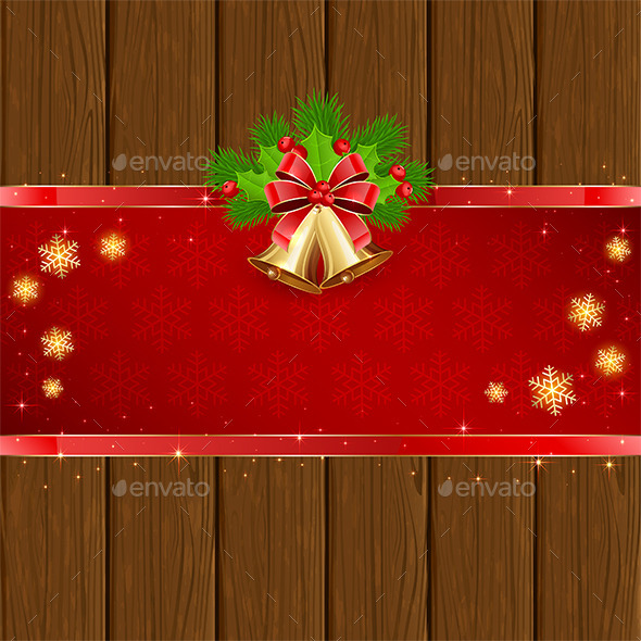 Wooden Christmas Background with Red Bow and Bells - Christmas Seasons/Holidays