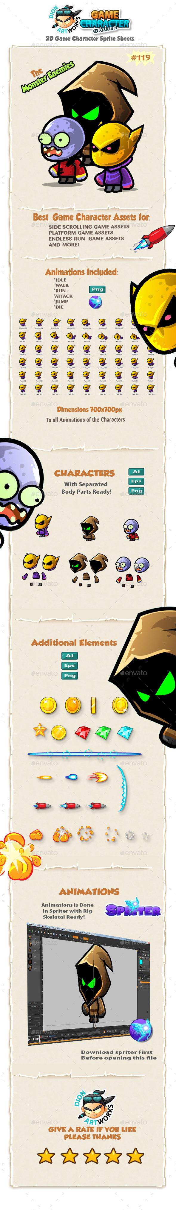 Monster Enemies 2D Game Character Sprites 119 - Sprites Game Assets
