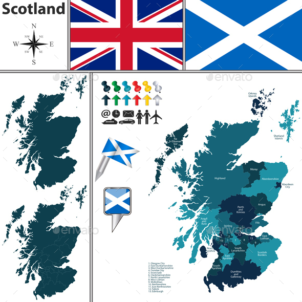 Map of Scotland with Subdivisions - Travel Conceptual