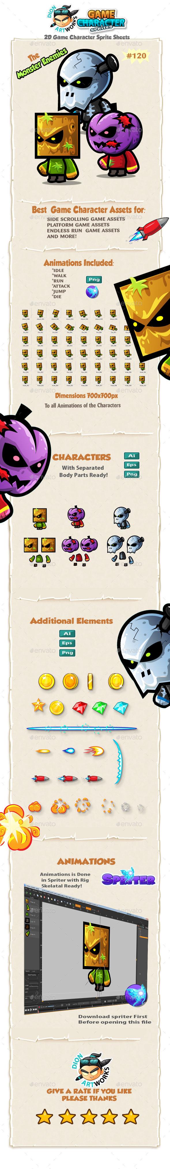 Monster Enemies 2D Game Character Sprites 120 - Sprites Game Assets