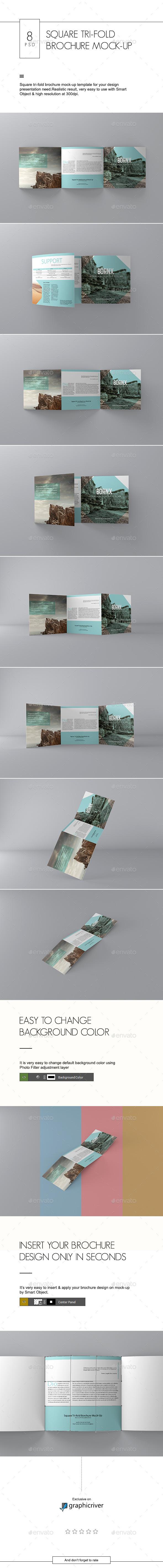 Square Tri-fold Brochure Mock-Up - Brochures Print