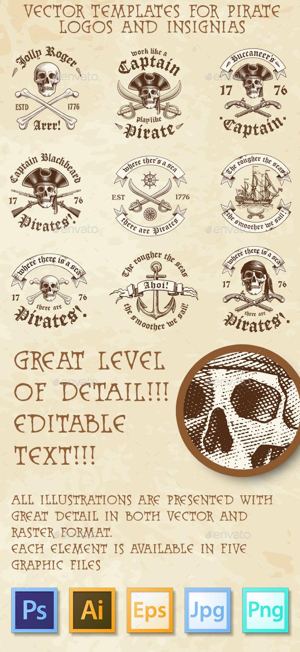 Pirate Vector Logos and Insignia - Decorative Symbols Decorative
