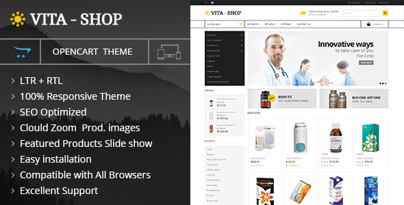 Vita Shop - Opencart Responsive Theme - Health & Beauty OpenCart