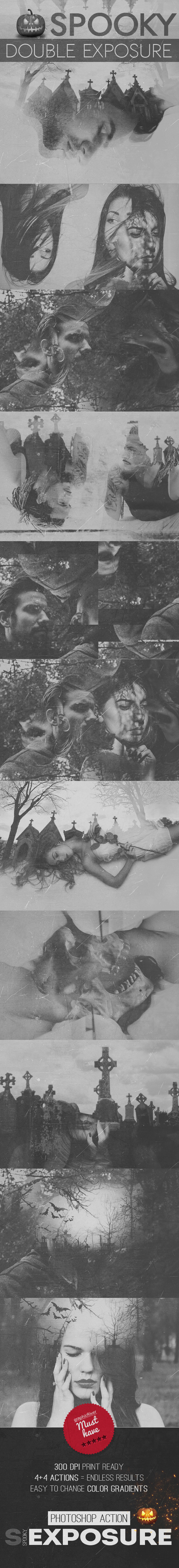 Spooky Double Exposure Photoshop Action - Photo Effects Actions
