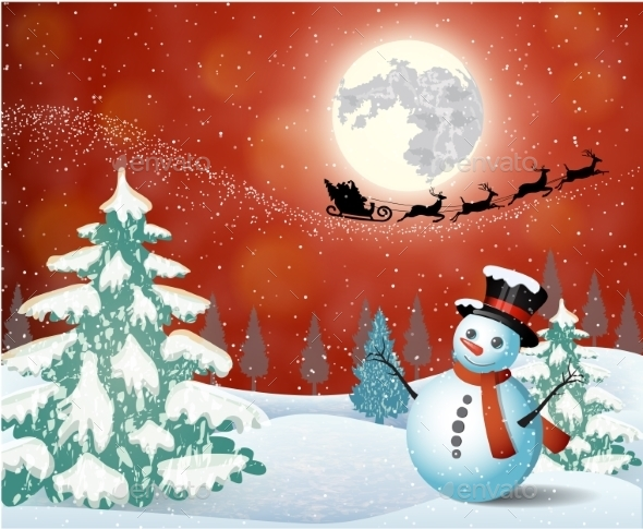 Cute Snowman On The Background Of Night Sky  - Christmas Seasons/Holidays