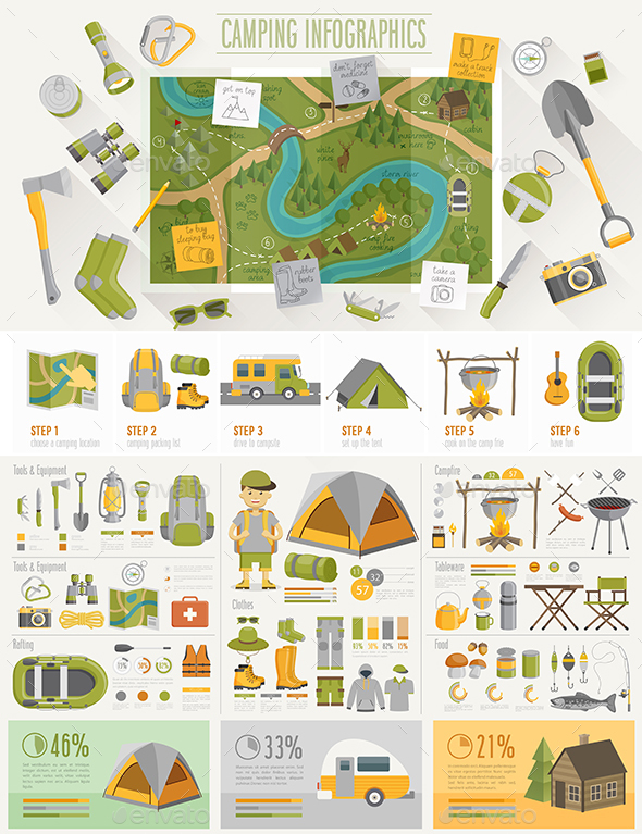 Camping Infographic Set - Sports/Activity Conceptual