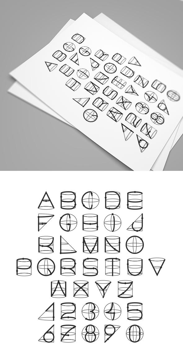 Geometric Line Font - Futuristic Decorative