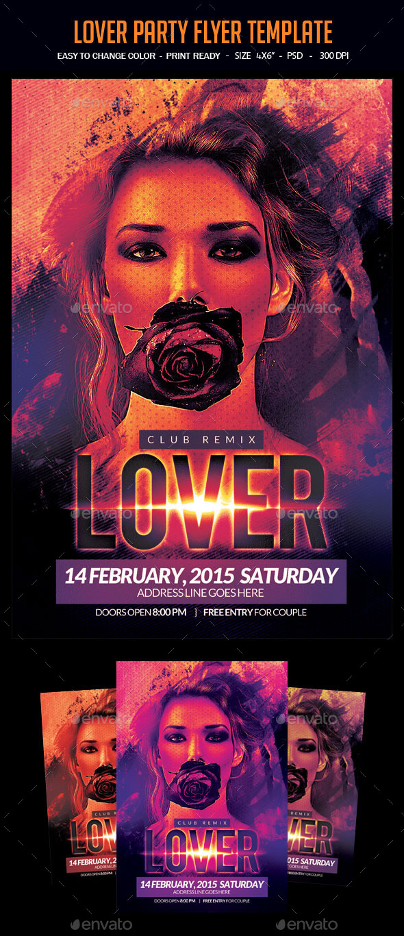 Lover Party Flyer Template - Clubs & Parties Events