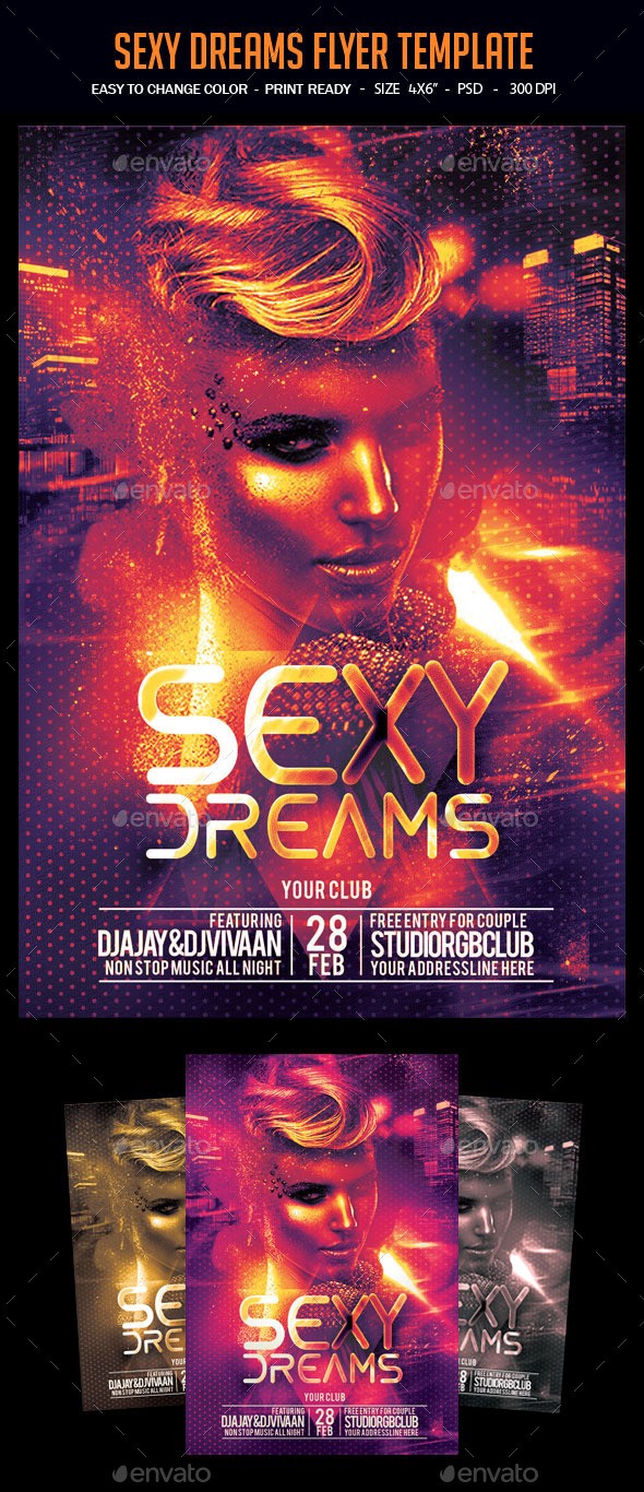 Sexy Dreams Flyer Template - Clubs & Parties Events