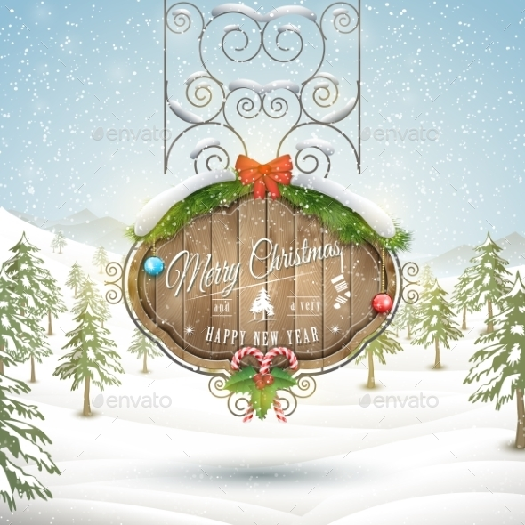 Decorated Christmas Board Vector Illustration - Christmas Seasons/Holidays