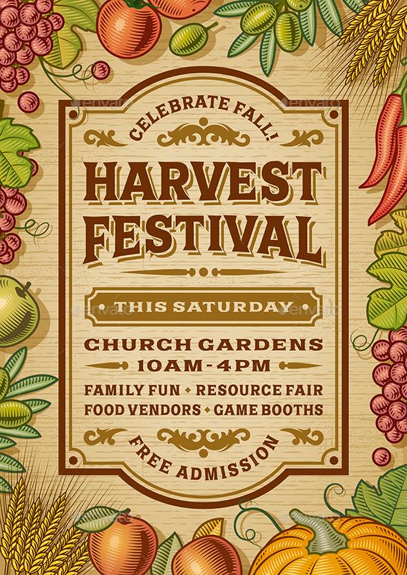 Vintage Harvest Festival Poster - Miscellaneous Seasons/Holidays