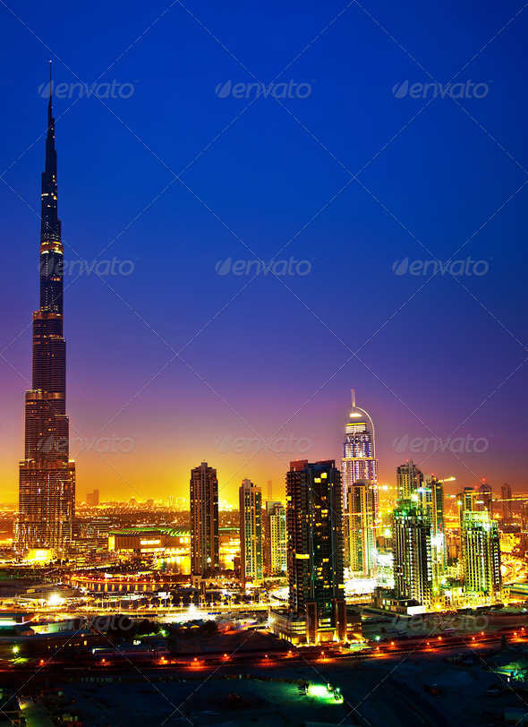 Dubai downtown at night - Stock Photo - Images