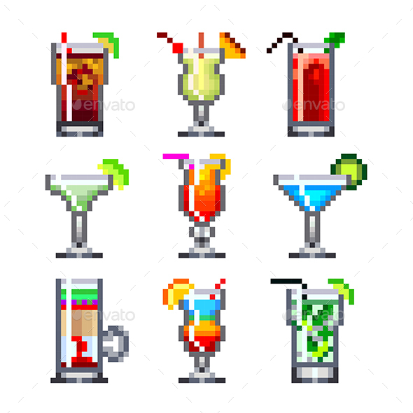 Pixel Cocktails for Game Icons Set - Food Objects