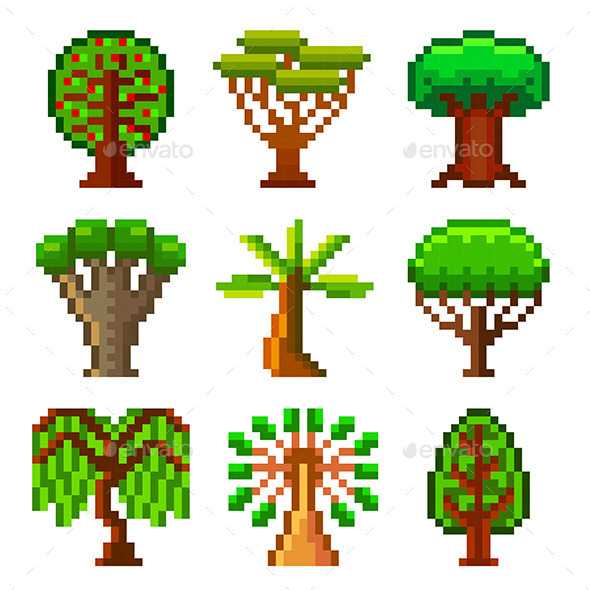 Pixel Trees for Games Icon Set - Flowers & Plants Nature