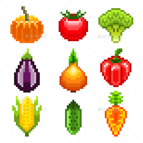 Pixel Vegetables for Games Icons Set - Food Objects