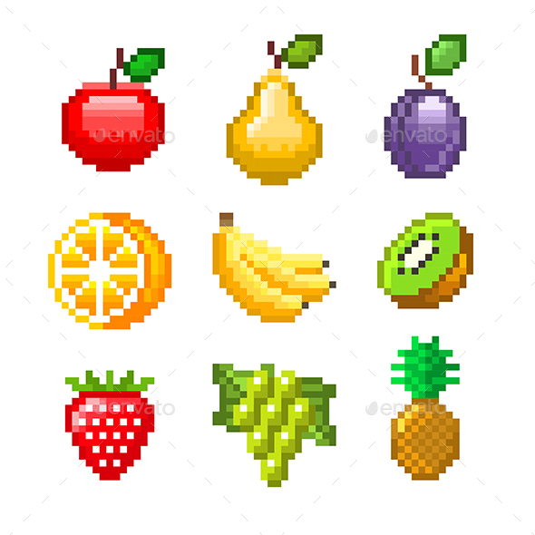 Pixel Fruits for Games Icons Vector Set - Food Objects