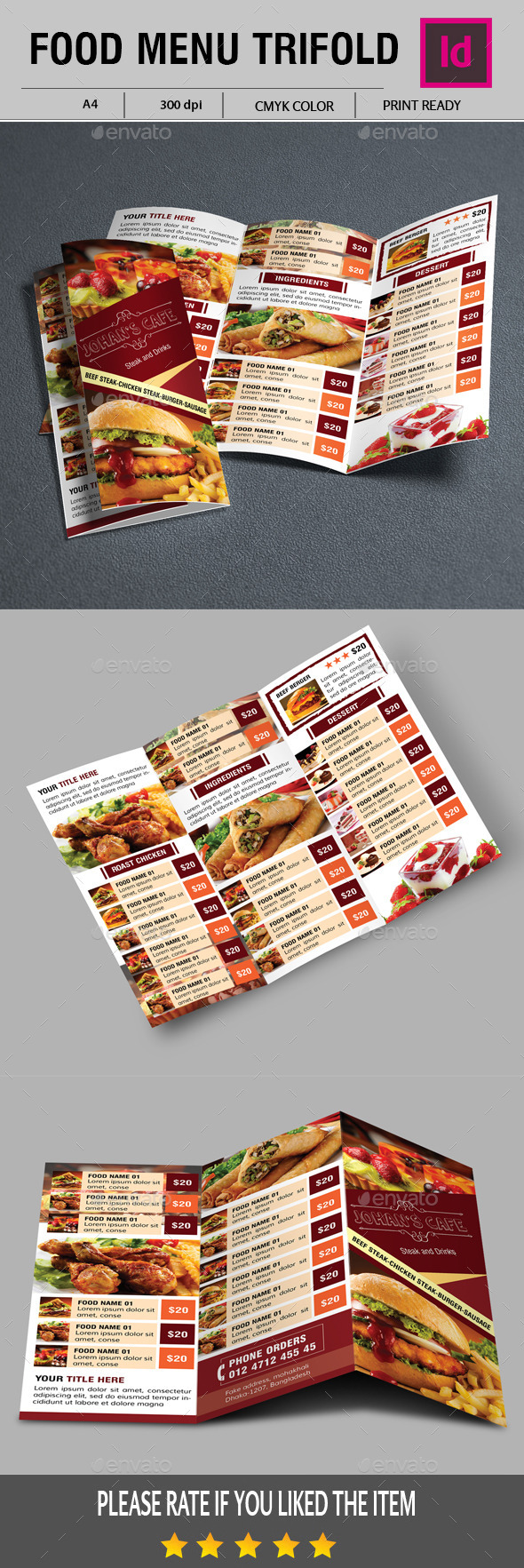 Food Menu Trifold - Food Menus Print Templates